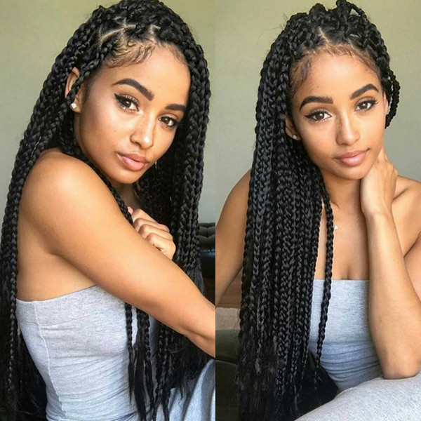 African American synthetic braided Lace front Wigs heat resistant full hand braided glueless synthetic hair wig for black women