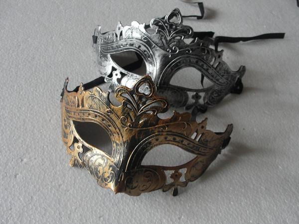 Retro Greco Roman Mask para hombre de Mardi Gras Gladiator mascarada Vintage Golden / Silver Mask Carnaval de plata Máscaras de Halloween 10pcs