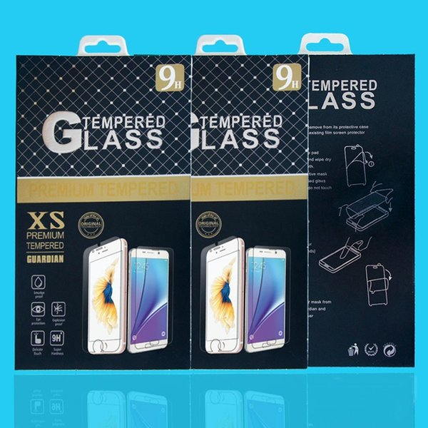 100pcs/lot Paper Packaging Retail Package Box with hanger For iphone 7 6 5s samsung Mobile phone tempered glass screen protector