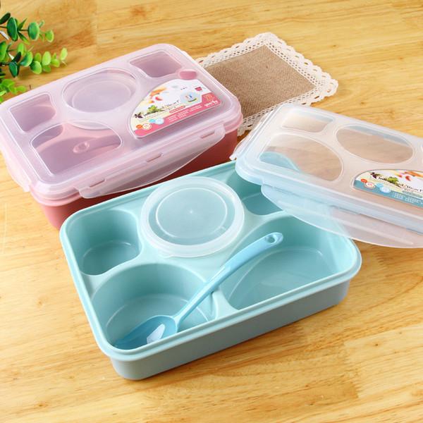 CJ011 Bento Box Servizio da tavola Tuta da forno LunchBox Set di stoviglie per microonde Contenitore per alimenti Contenitore grande per i pasti Cinque più una separazione
