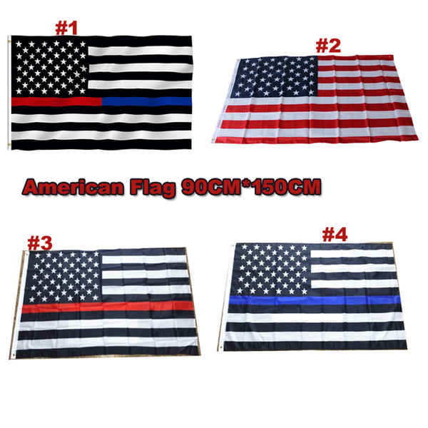 top popular DHL Free Blue Line USA Flags 3 By 5 Foot Thin Red Line US Flag Black White And Blue American Flag With Brass Grommets 4 style 2019