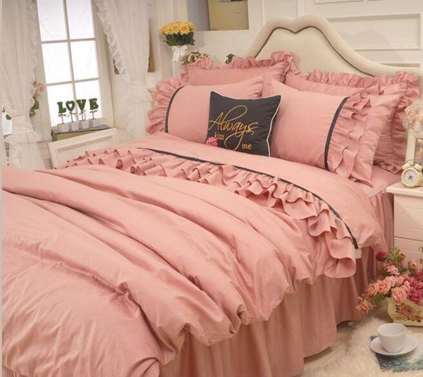 Korean princess wind red bean paste lace fold skirt bedspread bedding sets 4pcs, pillowcase, bed skirt Duvet Cover