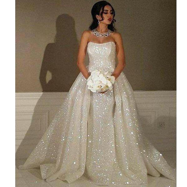 Fashion Bridal Dresses Off The Shoulder Strapless Sleeveless Bling - Bling Mermaid Wedding Dress