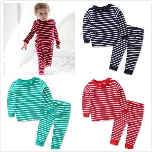 2018 Children Striped Pajamas Sleepwear Autumn Winter Kids Cotton