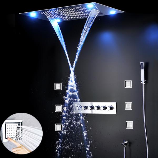 best selling Modern shower set desigh 600*800mm remote control color change led embed ceiling shower head set with massage jets