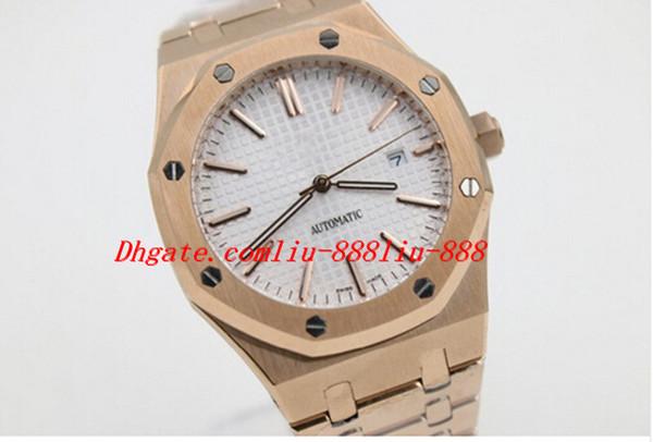 Reloj de pulsera de lujo Nuevo estilo Hombres Vestido de cristal Volver Movimiento automático Mecánico Dial blanco Acero inoxidable Oro Relojes para hombre