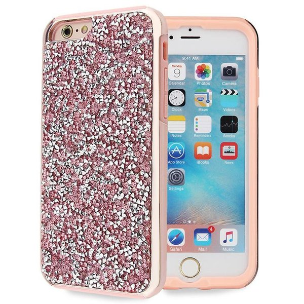 Premium bling 2 in 1 Luxury diamond rhinestone glitter back cover phone case For iphone 7 5 6 6s plus Samsung s8 note 8 cases