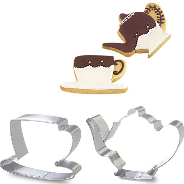 2pcs Kettle Coffee Cup Cookie Cutter Molds Metal Fondant Cake Decorating Tools Pastry Shop Biscuit Sandwich Cutters Mould Bake