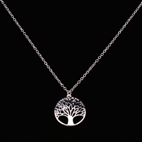 New Tree of Life Necklace Pendant Jewelry Silver Family Christmas Style Charm Jewellery Gift Free shipping