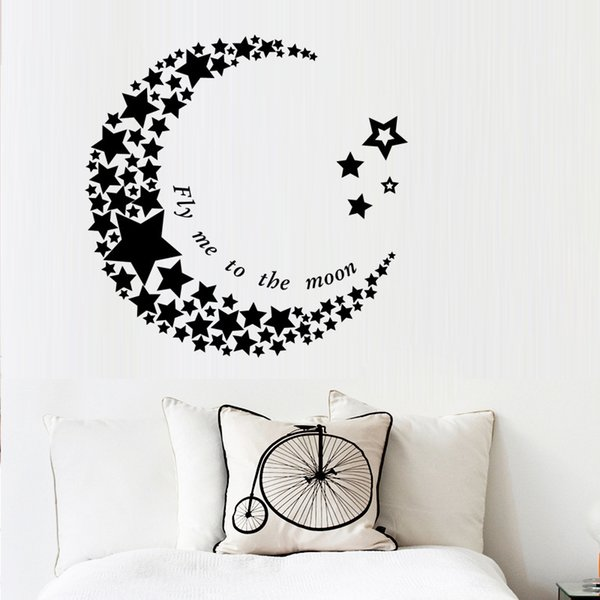 New crescent stars wall stickers sitting room bedroom decorative PVC wall stickers waterproof can be removed