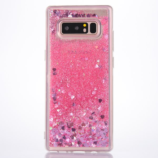 TPU Silicone Heart Star Shockproof Liquid Glitter Flowing Phone Case for iPhone X 6 Plus 7 8 5s