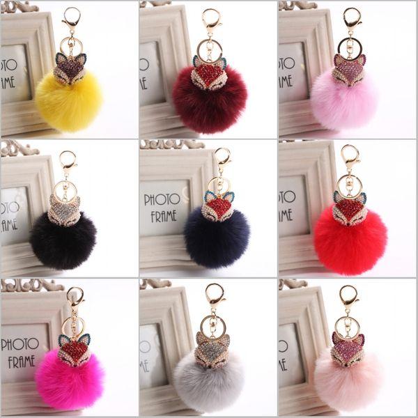 2017 New Fashion Cute Real Fox Fur Ball Plush Keychain Car Key Chain for Bag Pendant 20 Style C150Q