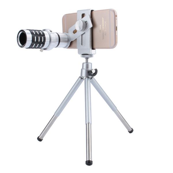 Telescope Camera Lens 12X Zoom Telephoto Phone Optical Lens Camera Telescope Lens + Mount Tripod For iPhone Samsung All phone MOQ;1PCS