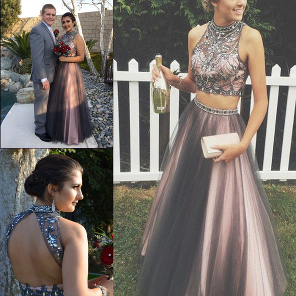 Two Piece Tulle Rom Dresses High Neck Crystal Beaded Tulle Floor Length Puffy Chocolate Brown Teenage Prom Dress Open Back Sweet 16 Dresses