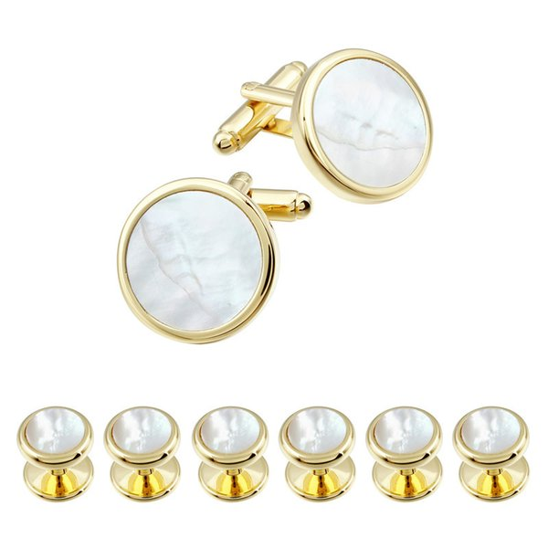 Men Dress Suit Tuxedos 6 Studs Cufflinks Set Gold Plated With Natural Mother Of Pearl Round Cufflinks Jewelry