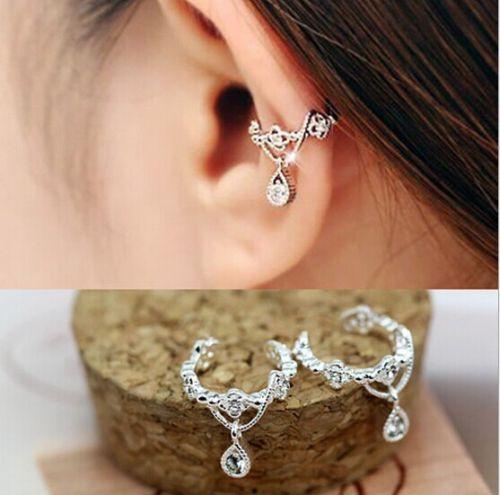 best selling Jewelry Clip Earrings Gold Sliver plated Charms Ear Wrap Ear Cuff Punk Ear Drop Cuff Wrap Rhinestone Cartilage Clip On Earring Non Piercing