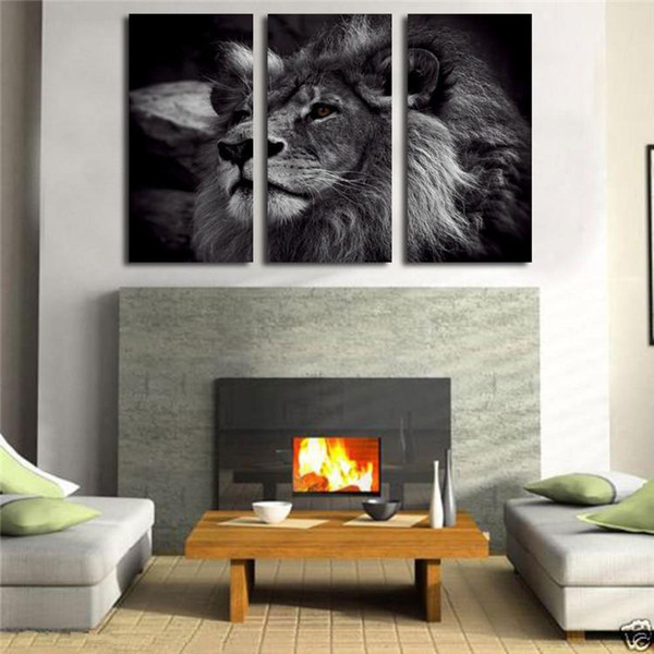 3 Panel Modern Animal Art Painting Black and White Lion King,Printed on Canvas Home Wall Decor High Quality Canvas custom sizes