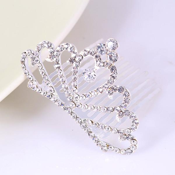 top popular Bridal Wedding Jewelry Crystal Headpieces Girls Princess Crystal Crown Tiaras Rhinestone Hair Combs Headdress for Party 2021