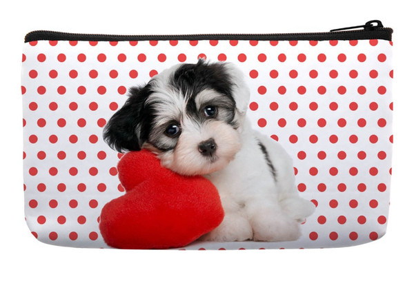 Wholesale- Red Dot Love Cute Lovely dogs Pet Print Customized Small Cosmetic Bag Wristlet Makeup Bags