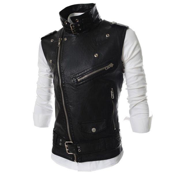 Wholesale- Hemiks Men's Motorcycle Vest Lapel Multi-Zip Belted PU Biker Waistcoat Sleeveless Jacket