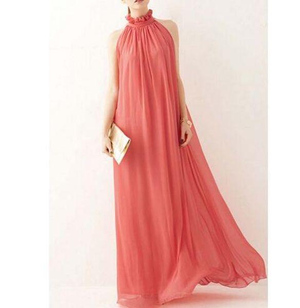 Woman Pink Boho Dress Ladies Solid Maxi Long Dress with Belt Beachwear Chiffon Dresses Robe Casual Dress Red Black Navy Blue Color