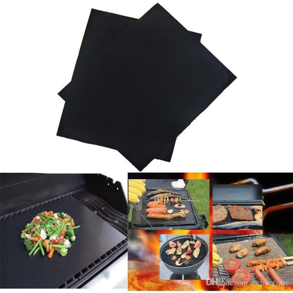 best selling Great Barbecue Grilling Liner BBQ Grill Mat Portable Non-stick and Reusable Make Grilling Easy 33*40CM 0.2MM Black Oven Hotplate Mats By DHL