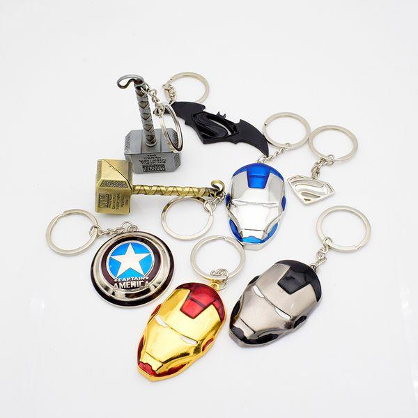 New Fashion Marvel Captain America's Shield Superman Logo Iron-Man's Mask Thor's Hammer Batman's Weapon Alloy Keychain Key Ring