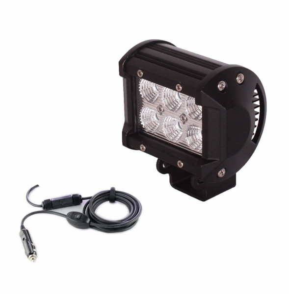Wholesale- Free shipping 18W LED Work Light Bar with car charge Flood Spot Beam Spotlight Offroad Light Bar Fit ATV 2pcs outdoor light