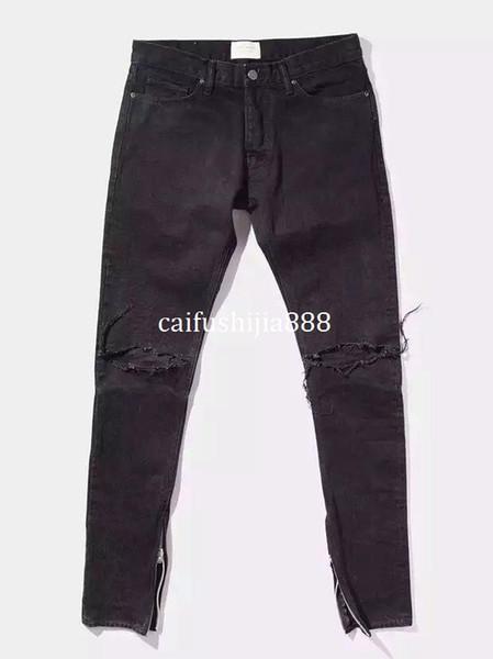 New Hot Fashion 2018 Fear of God FOG zippers skinny slim fit mens Distressed justin bieber black cotton Denim jeans men jean