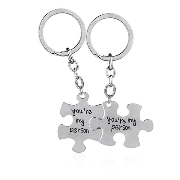 2pc You're My Person Puzzle Alloy Keychain Key rings Set Valentines Day Best Friend Gift Jewelry