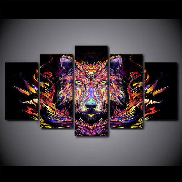 HD Printed canvas painting 5 piece color lion canvas prints animal head paintings posters and prints Free shipping