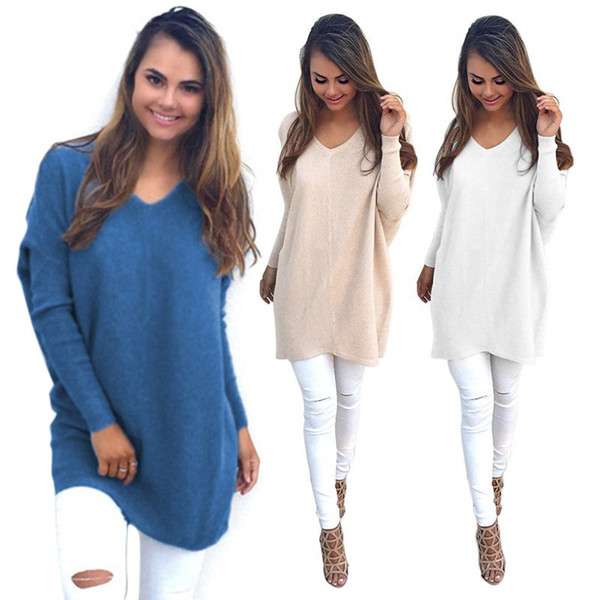 Wholesale- Sexy Solid Outwear Womens V-Neck Chunky Knitted Oversized Baggy Sweater Jumper Tops Hot Sale