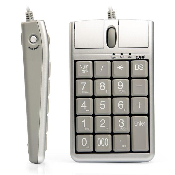 2 en 1 iOne Scorpius N4 Mouse óptico con teclado numérico, con cable 19 Teclado numérico con ratón Rueda de desplazamiento para una rápida introducción de datos Ratón con teclado USB