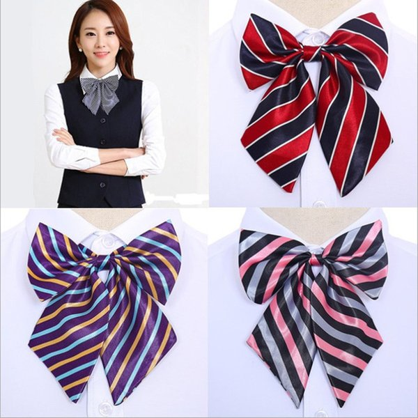 best selling Women's Grid Bowknot Bow Tie Rayon Business Ladies Uniform Neckwear Flower Hot Sale Womens Cravat Bow Ties