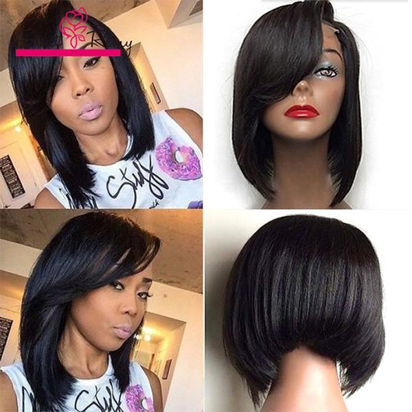 10-14 polegadas curto bob perucas de cabelo humano laço de vison frente brasileiras do cabelo virgem glueless perucas full Greatremy Natural Perucas