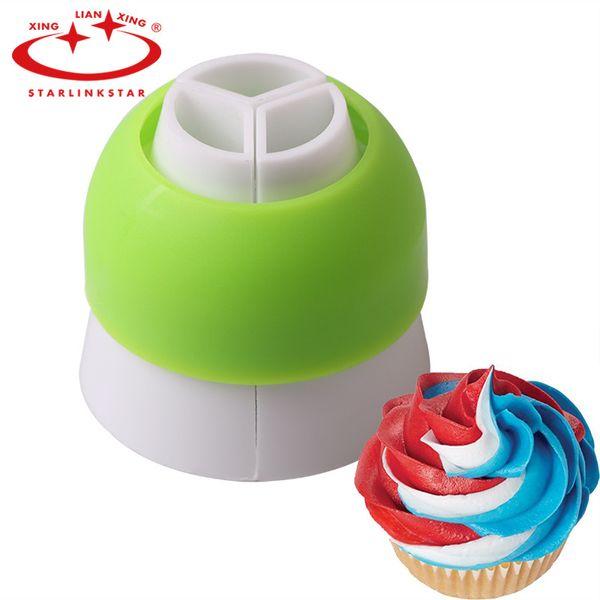 Wholesale- 1 pcs 3 Holes Cake Decoration Converter Mix 3 Colors Icing Piping Nozzle Converter For Cupcake Nozzle Converter Connecto