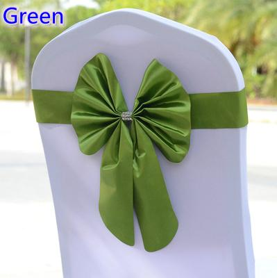 Green colour chair sash butterfly style bow tie stretch sash lycra band spandex chair cover sash for weddings wholesale