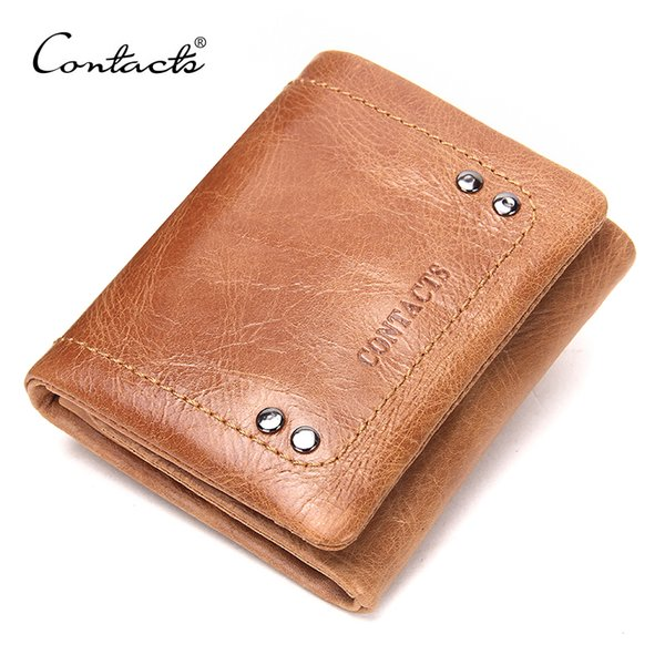 Wholesale- CONTACT'S 2017 New Spring Genuine Leather Wallet For Men / Women High Quality 3 Color Casual Wallets With Coin Bags Design Purse