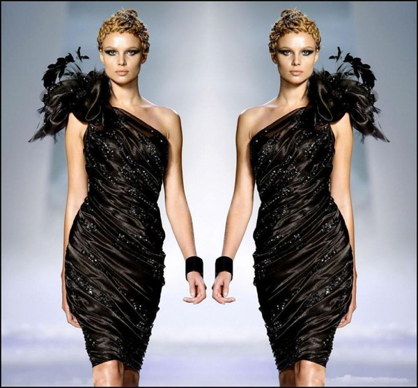 Zuhair Murad Little Black Formal Cocktail Dresses One Shoulder Flower Feathers Prom Party Gown Beaded Ruffle Dress Sexy Club Cheap