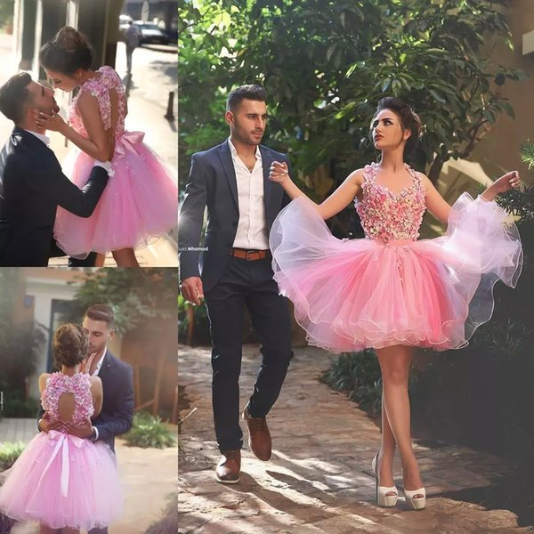 Pink Flowers Keen Length Prom Dresses Halter Organza Sleeveless Party Gown Dresses 2017 Custom Made junior dresses for homecoming