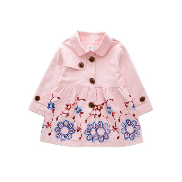 cute causal girl jacket coat cotton flower embroidery trench coat for 2-10years girls kid children cartoon outerwear clothes hot