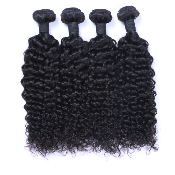 Afro Curly Brazilian Human Hair Weave Bundles Jerry Curl 100 Human Hair Extensions Double Drown Weft For Black Women