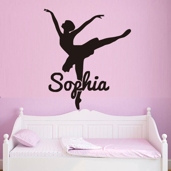 Hot Elegent Ballerina Dancing Personalized Vinyl Decals For Room Decor Waterproof Any Name Wall Stickers DIY