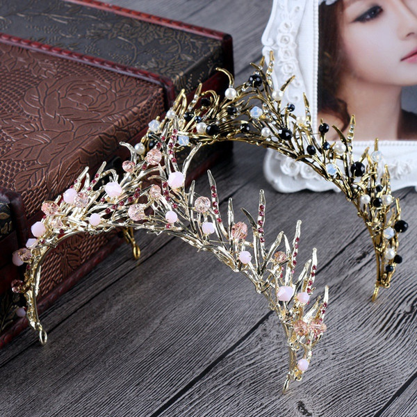 Baroque Queen Bridal Tiara Crown Pink Black Stone Graduation Prom Party Bridal Wedding Luxury Hair Jewelry Accessory Free Shipping