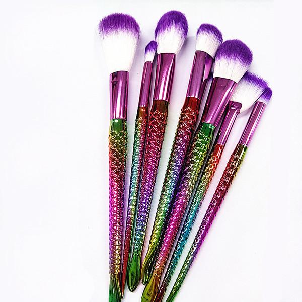 7pcs / lot pinceaux de maquillage ensemble professionnel poudre poudre pour les yeux fard à paupières outils cosmétiques arc en ciel coloré goutte livraison gratuite