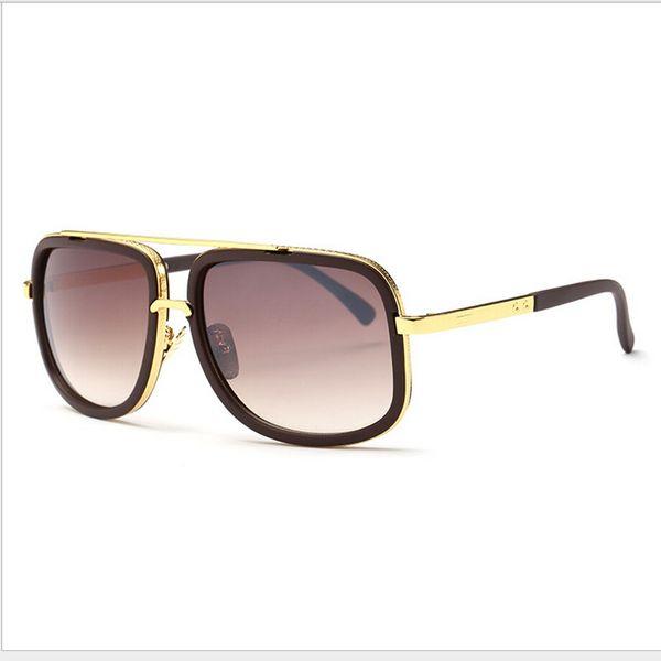 2019 Atacado-Moda Mens Designer Sunglasses Flat Top Lens Óculos de Sol Para Homens Quadrados de Ouro Masculino Sunglass Driving Big Metal Man