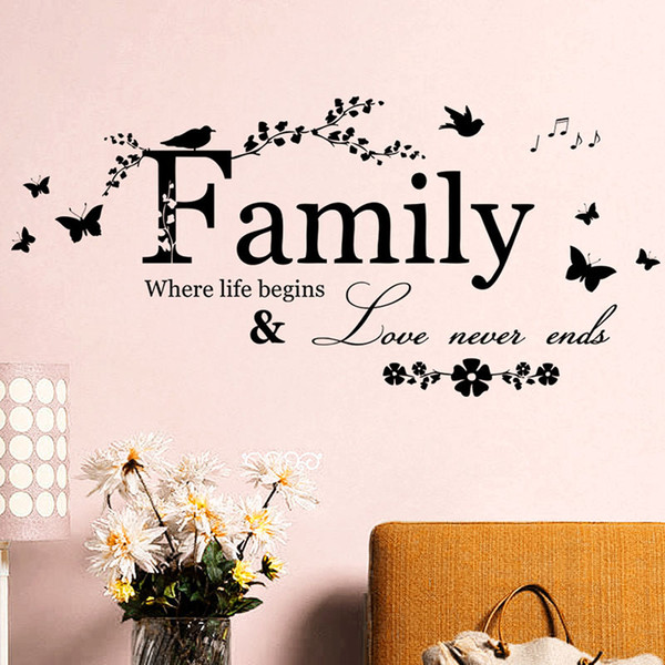 best selling Family Letter Art Words Wall Sticker House Living Room Wall Decor Stickers Quotes Love Never Ends Flower Wall Paper