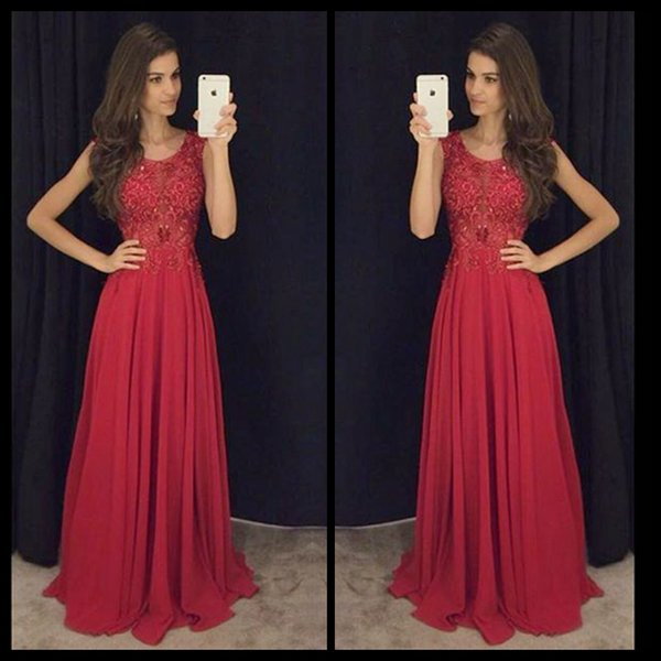 Burgundy Evening Dresses O Neck Sleeveless Long Chiffon Evening Gown ...