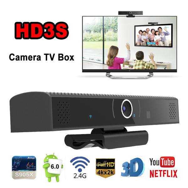 HD3S Android TV Kutusu Dahili HD Kamera 720P geniş açı 110 açısı Amlogic S905X Dört Çekirdekli 1G / 8G Android 6.0 TV Kutusu