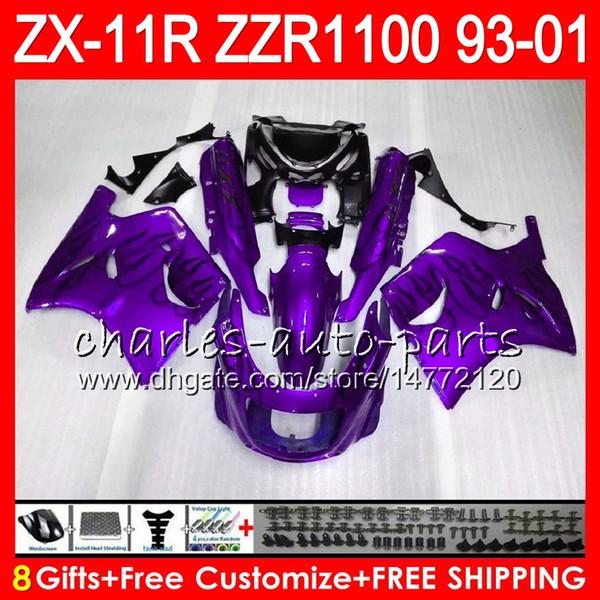8Regalos para KAWASAKI NINJA ZX11 ZX11R 93 01 98 99 00 01 ZZR 1100 Púrpura negro 22NO63 ZZR1100 ZX-11R ZX-11 1993 1998 1999 2000 2001 Carenado